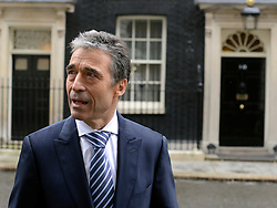 © Licensed to London News Pictures. 03/05/2012. Westminster, UK Ander Fogh Rasmussen the NATO Secretary General meets British Prime Minister David Cameron on Downing Street today 3rd May 2012 . Photo credit : Stephen Simpson/LNP