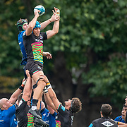 DUBLIN, IRELAND:  October 9:   Luca Andreani #7 of Zebre is challenged by Ryan Baird #4 of Leinster in the line out  uring the Leinster V Zebre, United Rugby Championship match at RDS Arena on October 9th, 2021 in Dublin, Ireland. (Photo by Tim Clayton/Corbis via Getty Images)