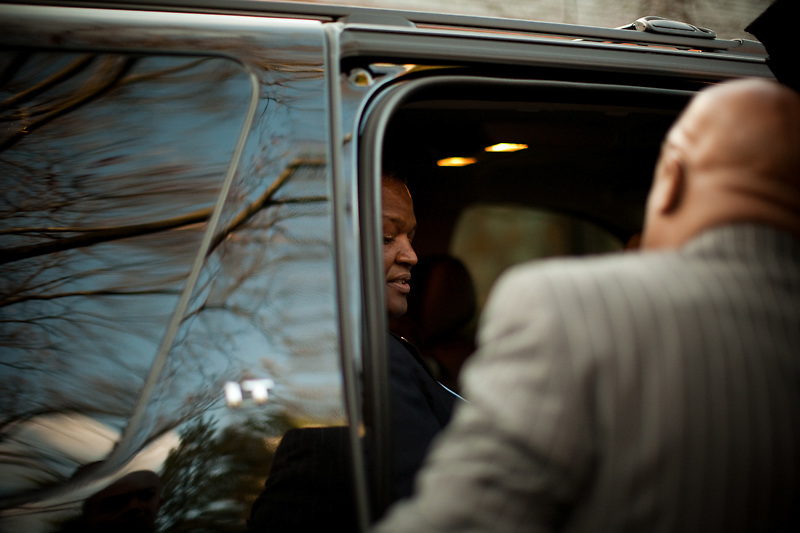CHEVERLY, MD - DECEMBER 6: Prince George's County Executive-Elect Rushern Baker III gets into a vehicle en route to his swearing in ceremony after an interfaith service at Cheverly United Methodist Church on his inauguration day on December 6, 2010 in Cheverly, Maryland. (Photo by Michael Starghill, Jr.)