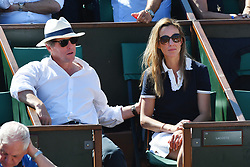 File photo - Actor Hugh Grant and Anna Eberstein attend the 2017 French Tennis Open at Roland Garros on June 8, 2017 in Paris, France. He's been referred to as one of the UK's most eligible bachelors but Hollywood star Hugh Grant is finally tying the knot. The Four Weddings and a Funeral and Paddington star is set to wed the mother of three of his children, Swedish TV producer, Anna Eberstein. Photo by Laurent Zabulon/ABACAPRESS.COM