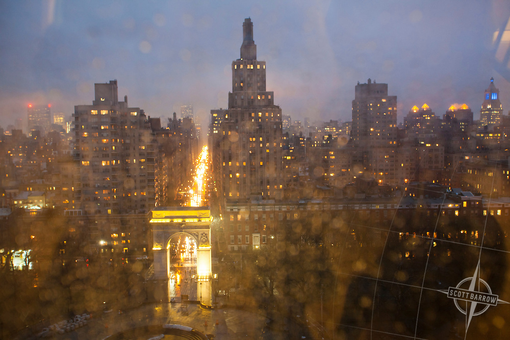 Washington Square Park and lower Fifth Avenue at night  in New York City.