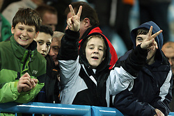 Young fans at Friendly match between U-21 National teams of Slovenia and Romania, on February 11, 2009, in Nova Gorica, Slovenia. (Photo by Vid Ponikvar / Sportida)