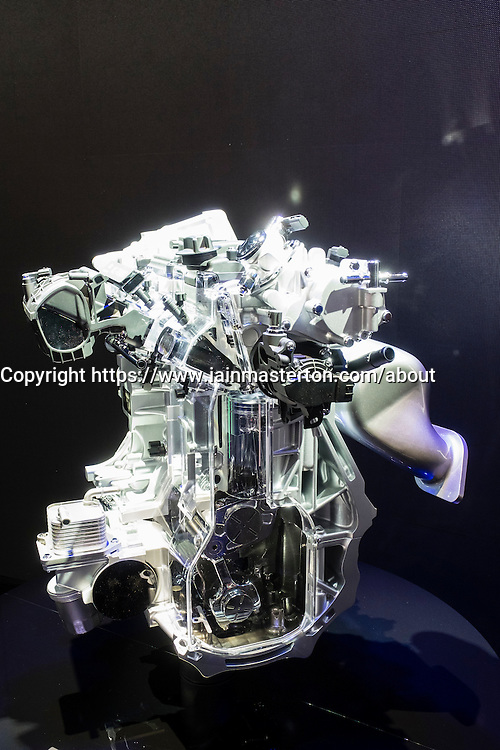 Detail of variable combustion Infinity VC-Turbo engine at Paris Motor Show 2016
