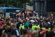 London, United Kingdom, June 27, 2021: Young participants dance and drink as they attend an anti-government musical rave in central London on Sunday, June 27, 2021. (VX Photo/ Vudi Xhymshiti)