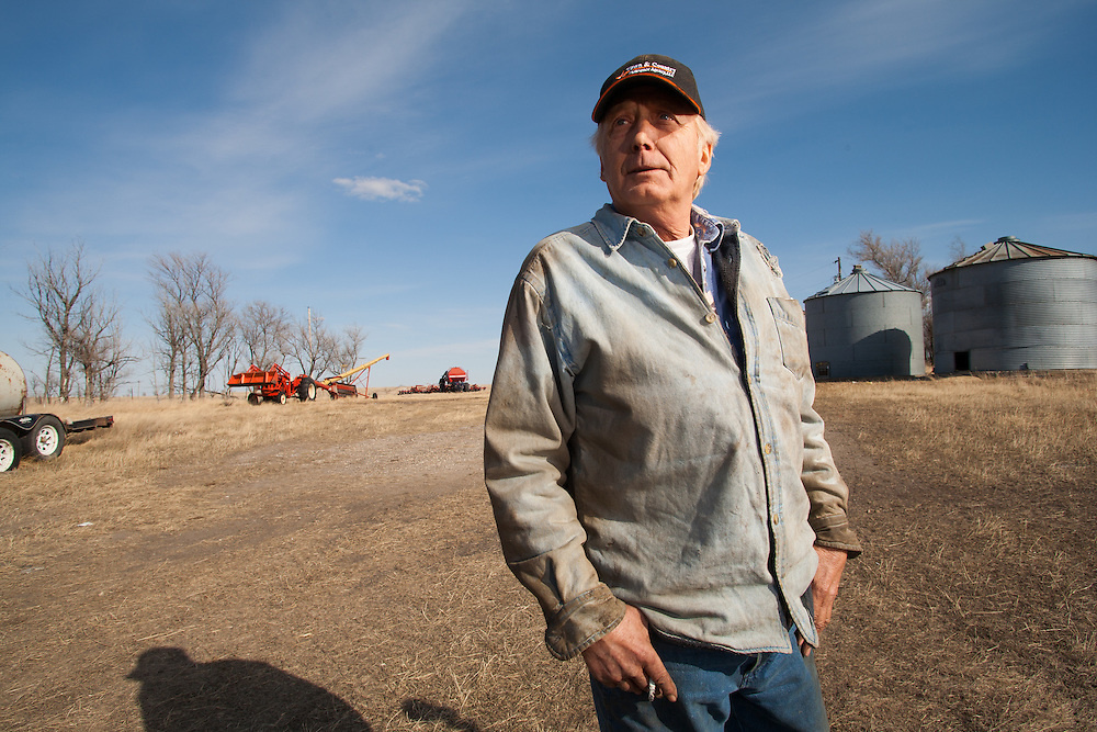 Oil development, drilling and exploration in the Baaken region of North Dakota John Bartelsen, a farmer who receives royalties from oil production, oil wells drilled on his land.