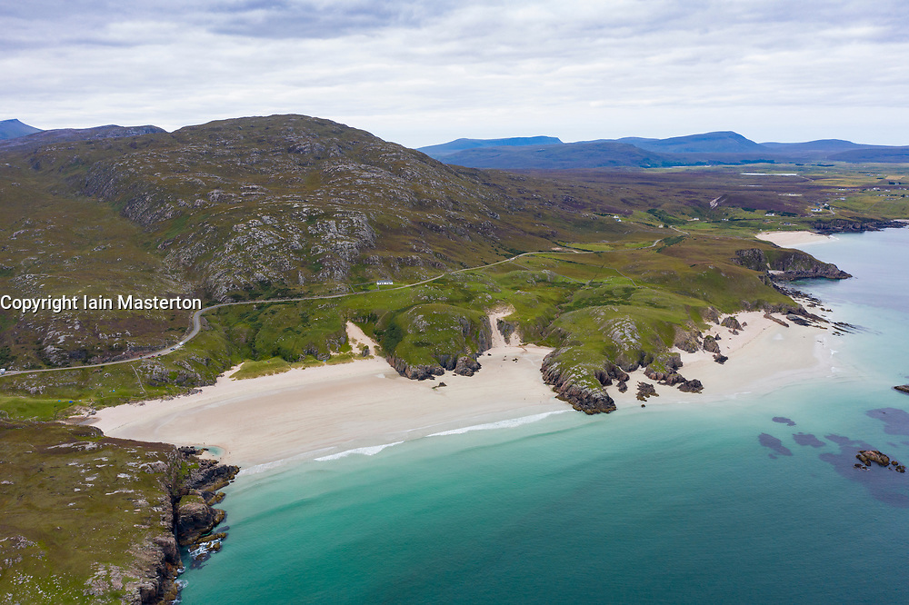 Aerial view of Ceannabeinne Beach near Durness on north coast of Sutherland, Highland Region , Scotland, Uk