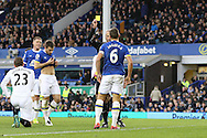 Phil Jagielka of Everton receives a yellow card from referee Martin Atkinson. Premier league match, Everton v Swansea city at Goodison Park in Liverpool, Merseyside on Saturday 19th November 2016.<br /> pic by Chris Stading, Andrew Orchard sports photography.