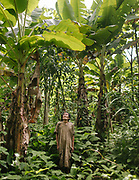 "Jose, in his ""Chaco"", his plantain field that he planted, using slash-and-burn technic. House of Jose, 75, one of the oldest Tsimane. He is the only Tsimane still wearing a cojchity, the traditional Tsimane cloth."