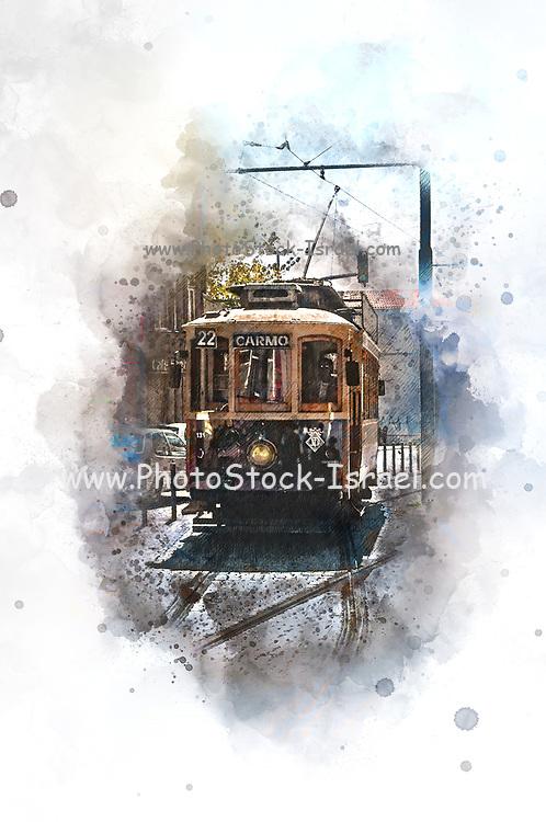 Digitally enhanced image of an Old style heritage tram at Batalha Square (Praca da Batalha) in Se civil parish of Porto, Portugal