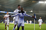 Ryan Sessegnon of Fulham (3) celebrates after scoring his teams 3rd goal. EFL Skybet championship match, Cardiff city v Fulham at the Cardiff city stadium in Cardiff, South Wales on Boxing Day, Tuesday 26th December 2017.<br /> pic by Andrew Orchard, Andrew Orchard sports photography.