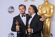 "88th Academy Awards press room.<br /> Actor in a leading role winner Leonardo DiCaprio for the film ""The Revenant"" with Best Direction winner ALEJANDRO G. IÑÁRRITU."