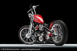 A red Harley-Davidson shovelhead built by Jeff Cochran of Speedking Racing. Photographed by Michael Lichter in Sturgis, SD on August 1, 2016. ©2016 Michael Lichter.