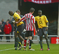 Photo: Andrew Unwin.<br /> Sunderland v Arsenal. The Barclays Premiership. 01/05/2006.<br /> Arsenal's Abou Diaby (L) limps off the field.
