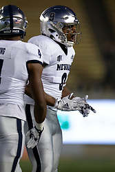 Nevada defensive end Kameron Toomer (9) celebrates a defensive stop against California during the first quarter of an NCAA college football game, Saturday, Sept. 4, 2021, in Berkeley, Calif. (AP Photo/D. Ross Cameron)