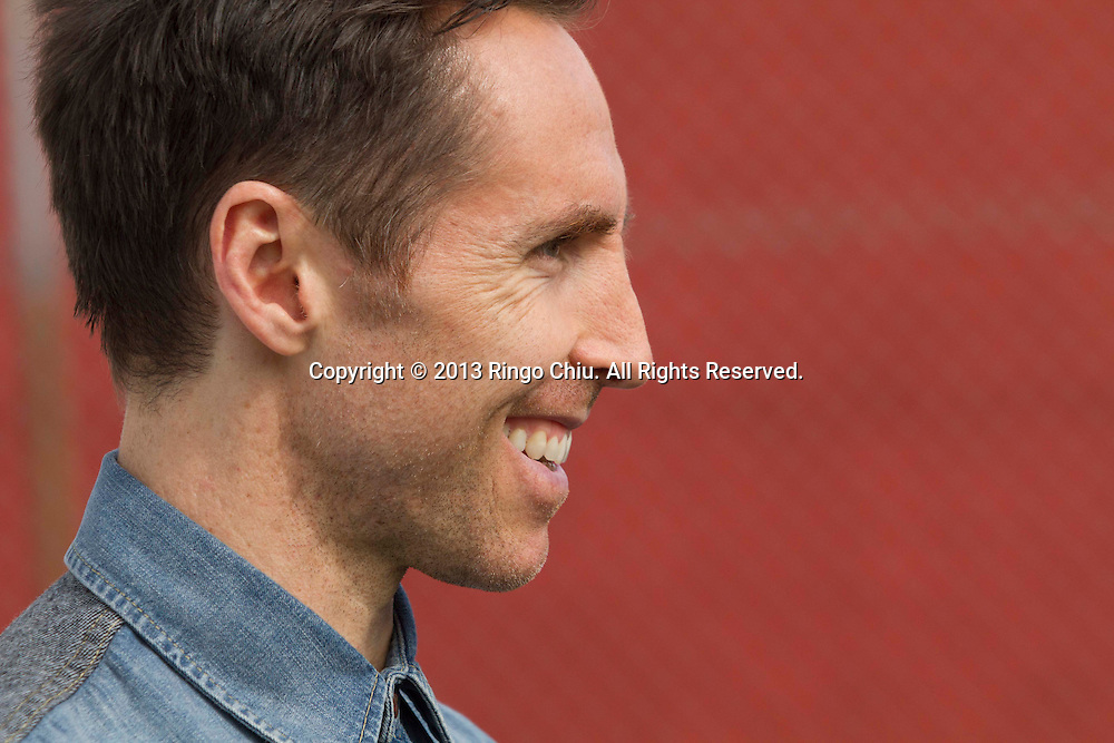 NBA Los Angeles Lakers point guard Steve Nash holds a news conference on Wednesday  March 20, 2013 in Los Angeles California, to announces his foundation's charity soccer events that will take place in New York and Los Angeles this summer.  (Photo by Ringo Chiu/PHOTOFORMULA.com).