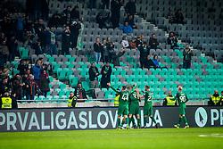 NK Olimpija players celebrates during football match between NK Olimpija Ljubljana and NK Maribor in 1st leg match in Quaterfinal of Slovenian cup 2017/2018, on November 11, 2017 in SRC Stozice, Ljubljana, Slovenia.  Photo by Ziga Zupan / Sportida