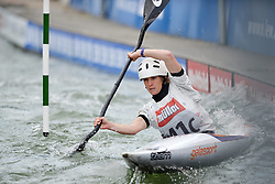 30.06.2013, Eiskanal, Augsburg, GER, ICF Kanuslalom Weltcup, Finale Kajak Teams, Frauen, im Bild Meritxell RODRIGUEZ (Spanien), Finale, Team, Kajak, K1, Teams, Frauen, Spanien // during final of the women's kayak team of ICF Canoe Slalom World Cup at the ice track, Augsburg, Germany on 2013/06/30. EXPA Pictures © 2013, PhotoCredit: EXPA/ Eibner/ Matthias Merz<br /> <br /> ***** ATTENTION - OUT OF GER *****