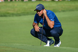 August 9, 2018 - Town And Country, Missouri, U.S - JASON DAY from Australia lines up his putt on hole number 14 during round one of the 100th PGA Championship on Thursday, August 8, 2018, held at Bellerive Country Club in Town and Country, MO (Photo credit Richard Ulreich / ZUMA Press) (Credit Image: © Richard Ulreich via ZUMA Wire)
