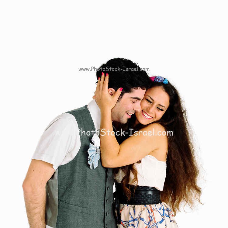 young couple in love studio shot with white background