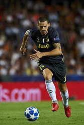 September 19, 2018 - Valencia, Spain - Leonardo Bonucci in action during the Group H match of the UEFA Champions League between Valencia CF and Juventus at Mestalla Stadium on September 19, 2018 in Valencia, Spain. (Credit Image: © Jose Breton/NurPhoto/ZUMA Press)