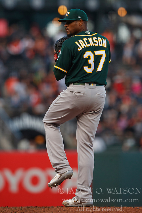SAN FRANCISCO, CA - JULY 13: Edwin Jackson #37 of the Oakland Athletics pitches against the San Francisco Giants during the first inning at AT&T Park on July 13, 2018 in San Francisco, California. The San Francisco Giants defeated the Oakland Athletics 7-1. (Photo by Jason O. Watson/Getty Images) *** Local Caption *** Edwin Jackson