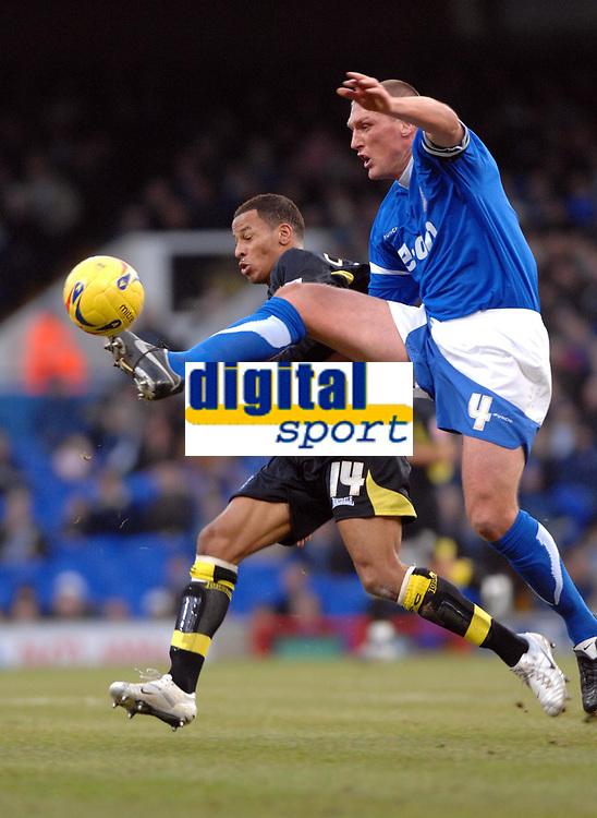 Photo: Ashley Pickering.<br />Ipswich Town v Birmingham City. Coca Cola Championship. 01/01/2007.<br />Ipswich's Jason De Vos (R) wins the ball from Birmingham's Dudley Campbell