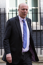 © Licensed to London News Pictures. 12/04/2016. London, UK. CHRIS GRAYLING leaves a cabinet meeting at 10 Downing Street. Photo credit : Vickie Flores/LNP