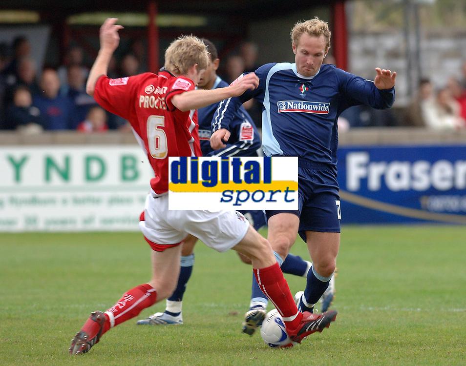 Photo: Paul Greenwood.<br />Accrington Stanley v Swindon Town. Coca Cola League 2. 07/10/2006.<br />Accrington's Andrew Proctor (L) defends against Royce Brownlie.
