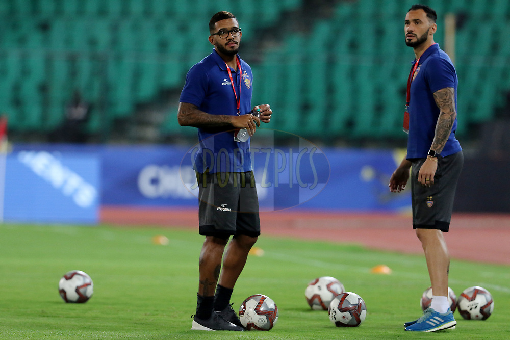 Raphael Augusto of Chennaiyin FC and Eli Sabia of Chennaiyin FC before the start of the match 27 of the Hero Indian Super League 2018 ( ISL ) between Chennaiyin FC and Mumbai City FC  held at the Jawaharlal Nehru Stadium, Chennai, India on the 3rd November 2018<br /> <br /> Photo by: Vipin Pawar /SPORTZPICS for ISL
