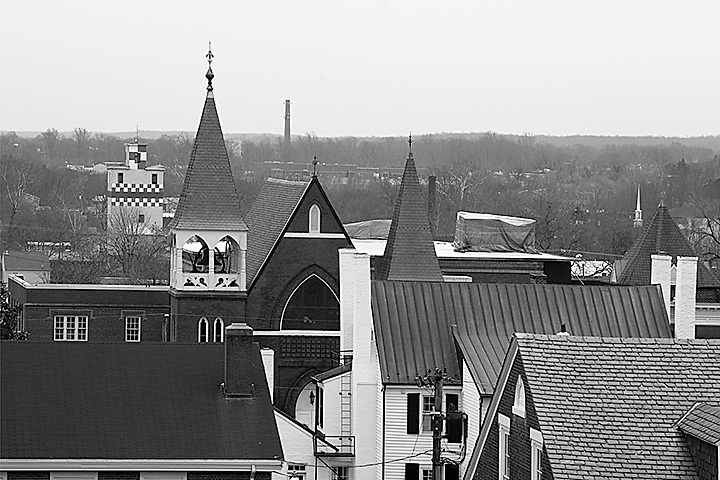 Looking south across the historic downtown area of Fredericksburg, VA.