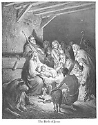 Birth of Jesus or The Nativity [Luke 2:15-16] From the book 'Bible Gallery' Illustrated by Gustave Dore with Memoir of Dore and Descriptive Letter-press by Talbot W. Chambers D.D. Published by Cassell & Company Limited in London and simultaneously by Mame in Tours, France in 1866