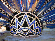 Jan 31, 2009 -- PHOENIX, AZ: The headdress of a traditional Nahuat (Aztec) dancer at the Macehualli Work Center. The Macehualli Work Center in north Phoenix opened six years as a city of Phoenix supported day labor center. The work center is now privately owned but still supports day laborers who congregate in the area. Many of the center's clients are undocumented immigrants. The presence of the undocumented immigrants has made the center a flashpoint in the illegal immigration debate in Phoenix.  Photo by Jack Kurtz / ZUMA Press