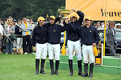 The victorious Loro Piana polo team JAMIE PEEL, ALFIO MARCHINI, JUAN MARTIN NERO and DAVID STIRLING at the 2008 Veuve Clicquot Gold Cup polo final at Cowdray Park Polo Club, Midhurst, West Sussex on 20th July 2008.<br />