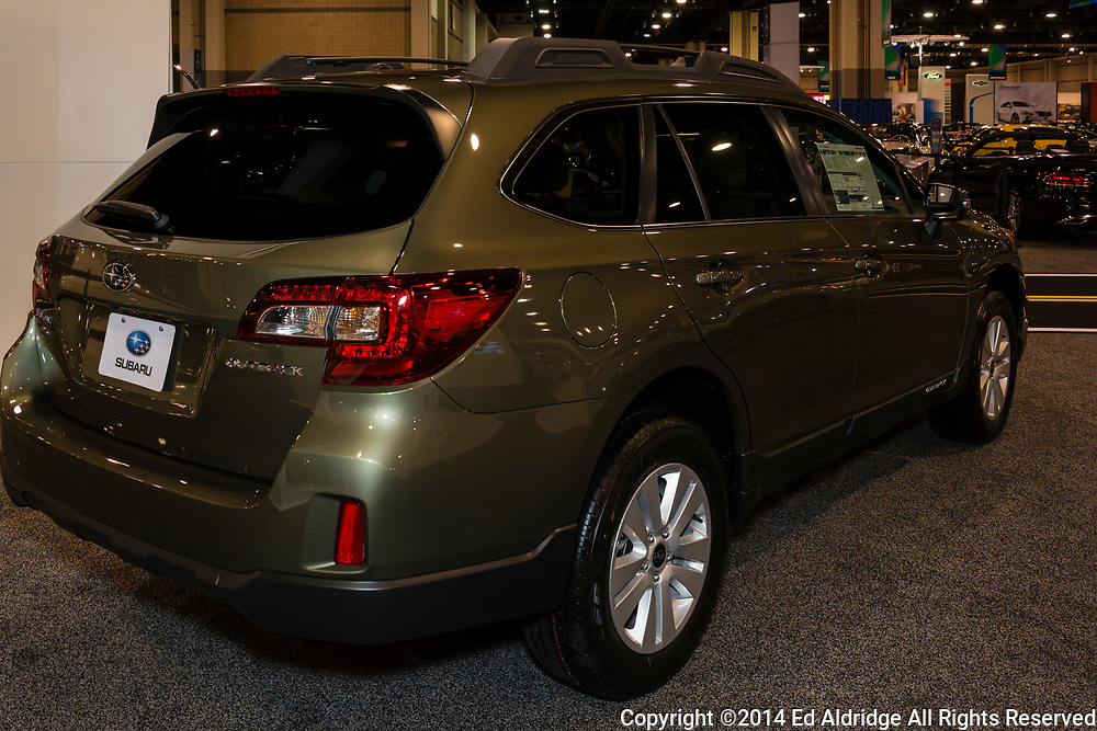 CHARLOTTE, NORTH CAROLINA - NOVEMBER 20, 2014: Subaru Outback on display during the 2014 Charlotte International Auto Show at the Charlotte Convention Center.