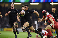 Malakai Fekitoa  of New Zealand runs in to score a try in 2nd half. Rugby World Cup 2015 pool c match, New Zealand v Georgia at the Millennium Stadium in Cardiff, South Wales  on Friday 2nd October 2015.<br /> pic by  Andrew Orchard, Andrew Orchard sports photography.