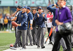 Sep 22, 2018; Morgantown, WV, USA; West Virginia Mountaineers head coach Dana Holgorsen celebrates along the sidelines during the first quarter against the Kansas State Wildcats at Mountaineer Field at Milan Puskar Stadium. Mandatory Credit: Ben Queen-USA TODAY Sports