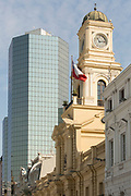 Clock tower on National Museum on Plaza de Armas Square, Santiago, Chile