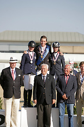 Podium Young Riders: 1 Fuchs Martin (SUI), 2 Andersson Petronella (SWE), 3 Martin Maelle (FRA)<br /> European Jumping Championship Magna Racino 2012<br /> © Hippo Foto - Florian Brauchli
