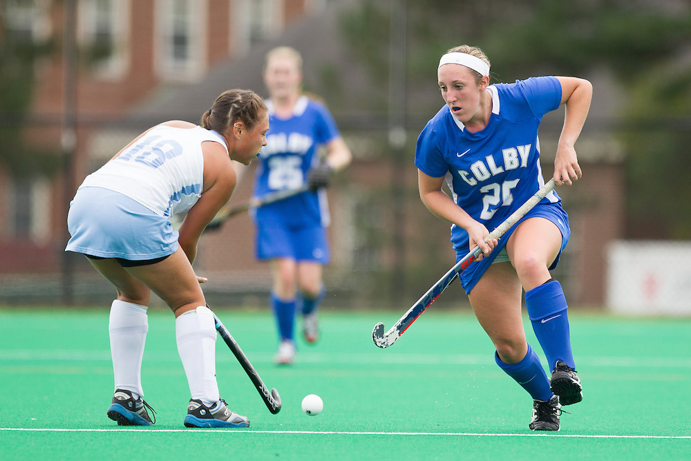 Megan Fortier, of Colby College, in a NCAA Division III field hockey game on September 13, 2014 in Waterville, ME. (Dustin Satloff/Colby College Athletics)