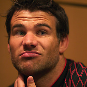 Mike Phillips, Wales, during a press conference in Auckland at the IRB Rugby World Cup tournament, Auckland, New Zealand, 18th October 2011. Photo Tim Clayton...