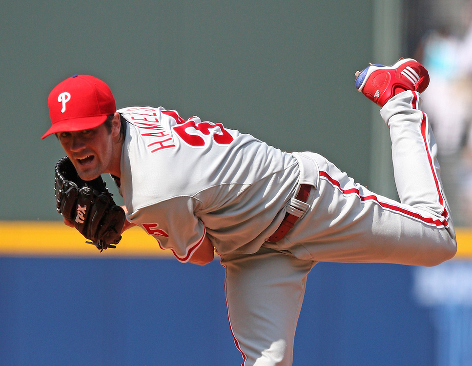 ATLANTA - AUGUST 15:  Pitcher Cole Hamels #35 of the Philadelphia Phillies follow through on a pitch during the game against the Atlanta Braves at Turner Field on August 15, 2009 in Atlanta, Georgia.  The Braves beat the Phillies 4-3.  (Photo by Mike Zarrilli/Getty Images)