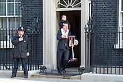 © Licensed to London News Pictures. 08/04/2014. London, UK British Prime Minister David Cameron leaves Downing Street and takes his daughter (FACE PIXELATED) to school 8th April 2014. Photo credit : Stephen Simpson/LNP