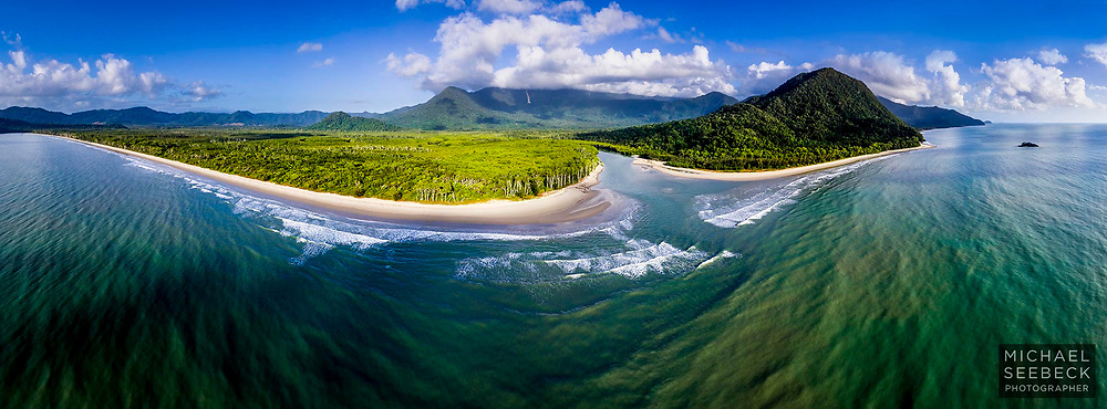 A stunning aerial panoramic image captured off a wilderness coastline in Far North Queensland.<br /> <br /> 2.7:1 Panoramic Print. Available in 40in (100cm) to 70in (178cm) sizes. Larger sizes available via special request.<br /> <br /> Limited Edition Print of 50 only.<br /> <br /> Code: AAQT0005