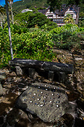 Konane stone, Hawaiian Checkers, Manoa Heritage Center, Honolulu, Oahu, Hawaii