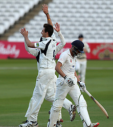 Middlesex's Steven Finn celebrates taking the wicket of Durham's Chris MacLeod - Photo mandatory by-line: Robbie Stephenson/JMP - Mobile: 07966 386802 - 03/05/2015 - SPORT - Football - London - Lords  - Middlesex CCC v Durham CCC - County Championship Division One