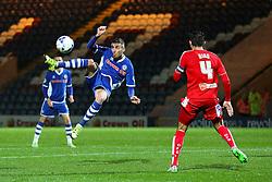 Matthew Lund of Rochdale tries an acrobatic shot at goal  - Mandatory byline: Matt McNulty/JMP - 07966 386802 - 06/10/2015 - FOOTBALL - Spotland Stadium - Rochdale, England - Rochdale v Chesterfield - Johnstones Paint Trophy