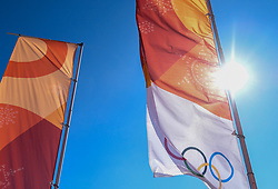 08-02-2018 KOR: Olympic Games day -1, Pyeongchang<br /> flags during a preliminary reports ahead of the opening of the Pyeongchang 2018 Winter Olympic Games at the Olympic Sliding Centre in Pyeongchang, South Korea on 2018/02/05.<br /> <br /> *** USE NETHERLANDS ONLY ***