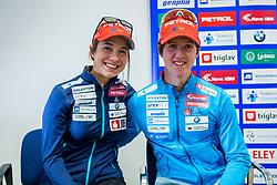 Miha Dovzan and Urska Poje during Slovenian biathlon team presenetation before season 2017/2018, Ljubljana, Slovenia. Photo by Ziga Zupan / Sportida