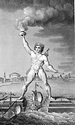 Colossus of Rhodes, lighthouse in the form of a giant marking the entrance of Rhodes harbour by holding a flaming torch in its hand, constructed c292-280 BC. Engraving.