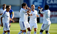 Fotball , 22. august 2015 ,   Eliteserien , Tippeligaen <br /> Sandefjord - Stabæk<br /> Nicholas Grossman  og Adama Diomande , Stabæk , jubel scoring 0-2